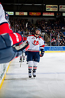 KELOWNA, CANADA - NOVEMBER 17: Giorgio Estephan #9 of the Lethbridge Hurricanes skates past the bench to celebrate a goal against the Kelowna Rockets on November 17, 2017 at Prospera Place in Kelowna, British Columbia, Canada.  (Photo by Marissa Baecker/Shoot the Breeze)  *** Local Caption ***