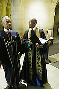 New York, NY- July 20: (L-R) Rev. Dr. James Forbes, Senior Minister Emeritus of the Riverside Church and Rev. Al Sharpton, Founder & President, National Action Network attends the preaching of ' God is Here ' a sermon preached by Rev. Al Sharpton held at the historic Riverside Church on July 20, 2014 in New York City.  (Terrence Jennings)