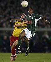 Photo: Lee Earle.<br /> Plymouth Argyle v Watford. The FA Cup. 11/03/2007.Watford's Jay DeMerit (L) holds back Sylvan Ebanks-Blake.