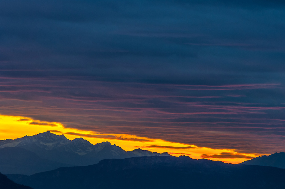 The Dolomites Mountain Range, sunset, October 2007, view from the Schlern-Rosengarten Nature Reserve, South Tyrol, Italy