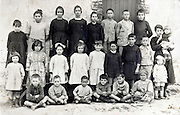 rural school group portrait with teacher early 1900s France