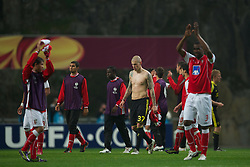BRAGA, PORTUGAL, Thursday, March 10, 2011: Liverpool's Martin Skrtel looks dejected after his side's 1-0 defeat to Sporting Clube de Braga during the UEFA Europa League Round of 16 1st leg match at the Estadio Municipal de Braga. (Photo by David Rawcliffe/Propaganda)