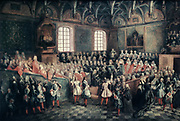 Assembly in the Great Chamber of the Paris Parlement : the Seat of Justice,  to be addressed by Louis XV (King of France 1715-1774) 22 February 1723, who took control of government on this, his 13th birthday.  Nicolas Lancret (1690-1743.
