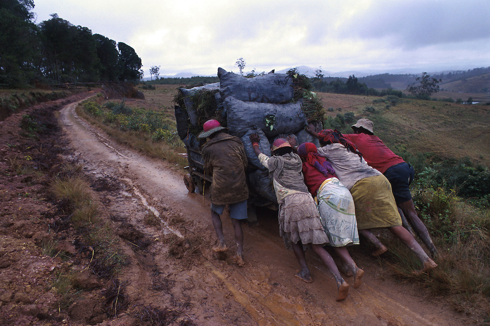 A poor community collecting charcoal, for cooking fuel and warmth, in Fianarantsua's central highlands. Poverty is rife in the Fianarantsua Highlands of Madagascar Hauling charcoal to be used as fuel.