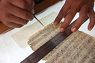 Restoration of original scores of the time of the Jesuits.In the laboratory Conception Church.