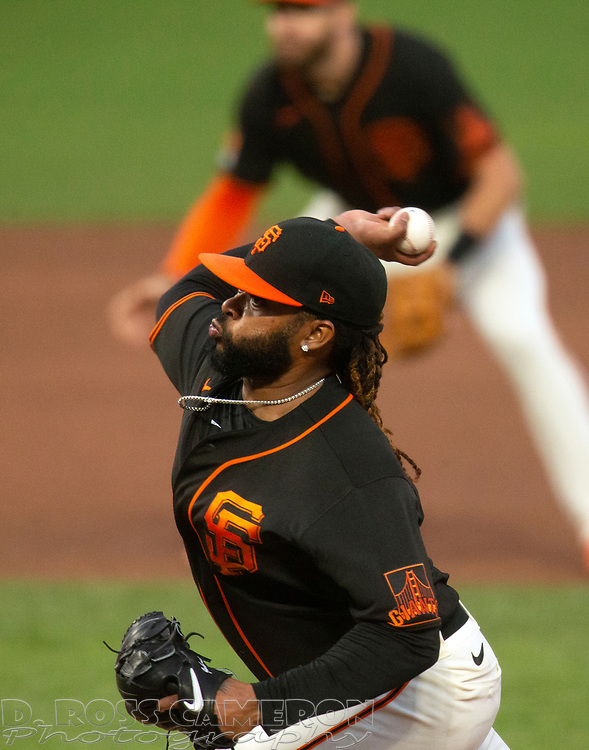 San Francisco Giants starting pitcher Johnny Cueto (47) delivers a pitch against the San Diego Padres during the third inning of a Major League Baseball game on Saturday, Sept. 26, 2020 in San Francisco, Calif. (D. Ross Cameron/SF Chronicle)