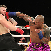 FORT LAUDERDALE, FL - FEBRUARY 15: Hector Lombard (R) punches David Mundell during the Bare Knuckle Fighting Championships at Greater Fort Lauderdale Convention Center on February 15, 2020 in Fort Lauderdale, Florida. (Photo by Alex Menendez/Getty Images) *** Local Caption *** Hector Lombard; David Mundell