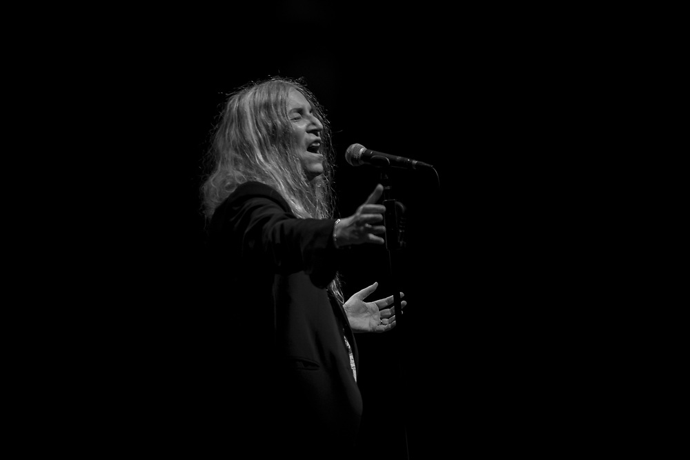 Patti Smith performs with her band on the second night of a two-night, sold out show at Rio Theatre in Santa Cruz, California on Jan. 15, 2019.