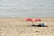 Nederland, Nijmegen, 7-8-2018Warme zomerse dag op het Waalstrand van Nijmegen in de Ooijpolder. Een man zoekt schaduw en verkoeling onder zijn parasol en leest een tijdschrift . Het waterpeil is erg laag vanwege de aanhoudende extreme droogte, uitblijven van regen, waardoor de binnenschepen minder vracht kunnen vervoeren . Hierdoor is het drukker op de rivier.Het zwemmen in de rivier de waal, rijn, is gevaarlijk vanwege de veraderlijke stroming en de drukke scheepvaart. Foto: Flip Franssen