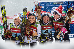 Maja Dahlqvist (SWE), Linn Svahn (SWE), Stina Nilsson (SWE), Jonna Sundling (SWE) celebrating after Ladies team sprint race at FIS Cross Country World Cup Planica 2019, on December 22, 2019 at Planica, Slovenia. Photo By Peter Podobnik / Sportida