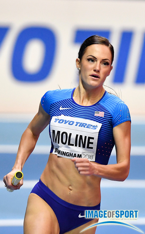 Georganne Moline (USA) leads the field on the third leg of the Women's 4 x 400m during the morning session of the IAAF World Indoor Championships at Arena Birmingham in Birmingham, United Kingdom on Saturday, Mar 2, 2018. (Steve Flynn/Image of Sport)