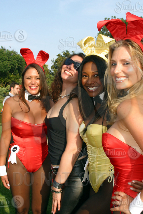 Jul 09, 2002; Los Angeles, CA, USA; Playmates show off their costumes @ SUGAR RAY LEONARD BOXING first year anniversary was celebrated with a live fight night on ESPN2 from the Playboy Mansion in Holmby Hills.  Over 350 invited guests attended the cocktail reception and showdown in the back yard of Playboy HUGH HEFNER's 5 1/2 acre estate. <br />Mandatory Credit: Photo by Shelly Castellano/ZUMA Press.<br />(©) Copyright 2002 by Shelly Castellano