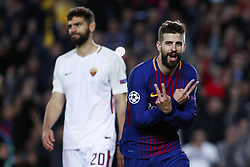 April 4, 2018 - Barcelona, Catalonia, Spain - April 4, 2018 - Barcelona, Spain - Uefa Champions League Quarter final first leg, FC Barcelona v AS Roma: Gerard Pique of FC Barcelona celebrates the 3-0. (Credit Image: © Marc Dominguez via ZUMA Wire)
