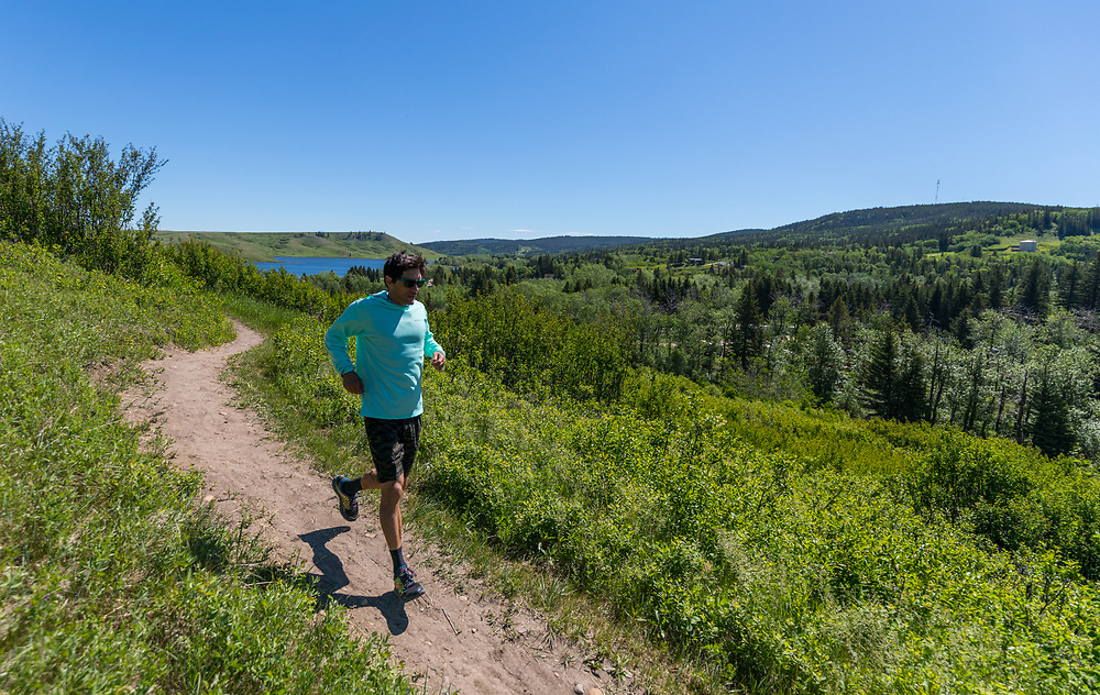 Tim Banfield trail running Old Baldy Trail in Cypress Hills Provincial Park, Elkwater, AB
