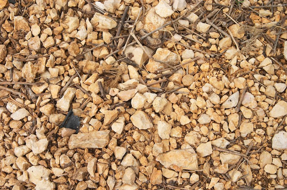 Domaine l'Aigueliere. Montpeyroux. Languedoc. Soil argilo-calcaire, clay and calcareous limestone. Terroir soil. France. Europe. Vineyard. Soil with stones rocks. Clay. Calcareous limestone.