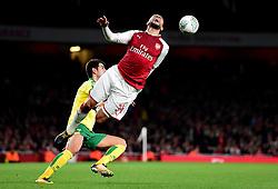 James Husband of Norwich City fouls <br /> Francis Coquelin of Arsenal - Mandatory by-line: Alex James/JMP - 24/10/2017 - FOOTBALL - Emirates Stadium - London, England - Arsenal v Norwich City - Carabao Cup