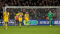 Football - 2018 / 2019 Premier League - West Ham United vs. Crystal Palace<br /> <br /> Dejected Crystal Palace players after conceding the third goal at the London Stadium<br /> <br /> COLORSPORT/DANIEL BEARHAM