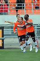 FOOTBALL - FRENCH CHAMPIONSHIP 2012/2013 - L1 - FC LORIENT v AC AJACCIO  - 28/10/2012 - PHOTO PASCAL ALLEE / DPPI - JOY GILLES SUNO (FCL) AFTER SCORING THE GOAL FOUR EQUALIZER EVERYWHERE. HE IS GONGRATULATED BY MAXIME BACA AND JEREMIE ALIADIERE