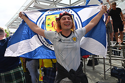 © Licensed to London News Pictures. 17/06/2021. London, UK. Scottish football fans arrive at Kings Cross train station aheasd of the UEFA Euro 2020 footbal match against England to be played at Wembly Stadium. Photo credit: Ray Tang/LNP