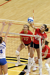 24 November 2006: Peggy Riessen takes a strike from the outside during a Quarterfinal match between the Illinois State University Redbirds and the Creighton University Bluejays. The Tournament was held at Redbird Arena on the campus of Illinois State University in Normal Illinois.<br />