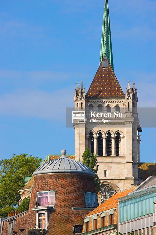 Spire and Tower of Saint Pierre Cathedral, Geneva, Switzerland