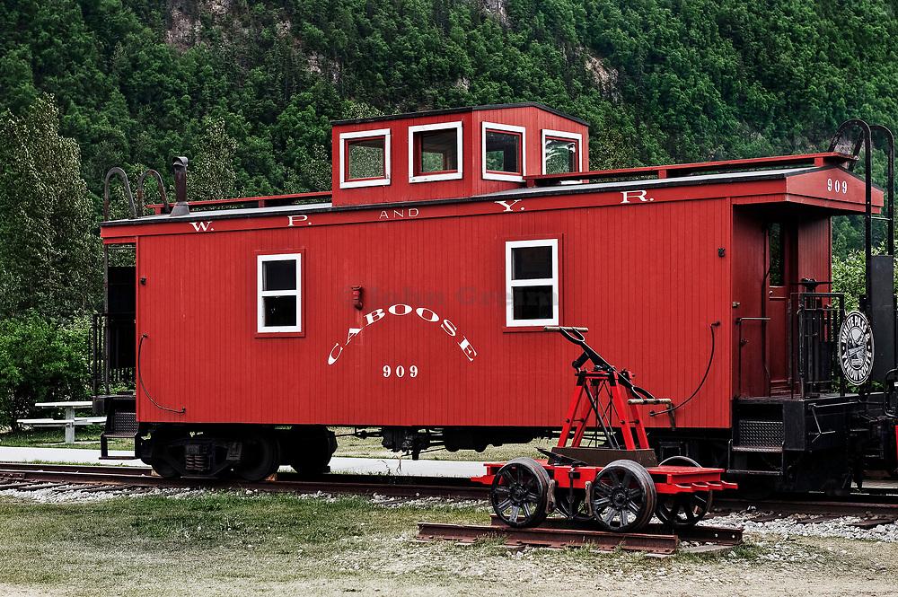 Caboose train car of the White Pass & Yukon Route, Skagway, AK, Alaska, USA