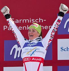 08.02.2011, Kandahar, Garmisch Partenkirchen, GER, FIS Alpin Ski WM 2011, GAP, Lady Super G, im Bild Winnerceremonie, Siegerin und Weltmeisterin Elisabeth GOERGL (AUT) // Winner and World Champion Elisabeth GOERGL (AUT) during Women Super G, Fis Alpine Ski World Championships in Garmisch Partenkirchen, Germany on 8/2/2011, 2011, EXPA Pictures © 2011, PhotoCredit: EXPA/ J. Feichter
