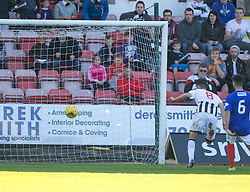 Dunfermline's Shaun Byrne scoring their fourth goal. <br /> Dunfermline 5 v 1 Cowdenbeath, Scottish League Cup game played today at East End Park.
