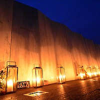 Volunteers place forty lanterns, one for each passenger and crew of United Airlines Flight 93 during a Luminary Services on the eve of the 13th Anniversary the crash of Flight 93 near Shanksville, Pennsylvania on September 10, 2014.  UPI/Archie Carpenter