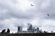 An overcast sky dominates the City of London skyline, a cityscape of the capitals financial district seen from the opposite bank of the Thames river, on 10th September 2021, in London, England.