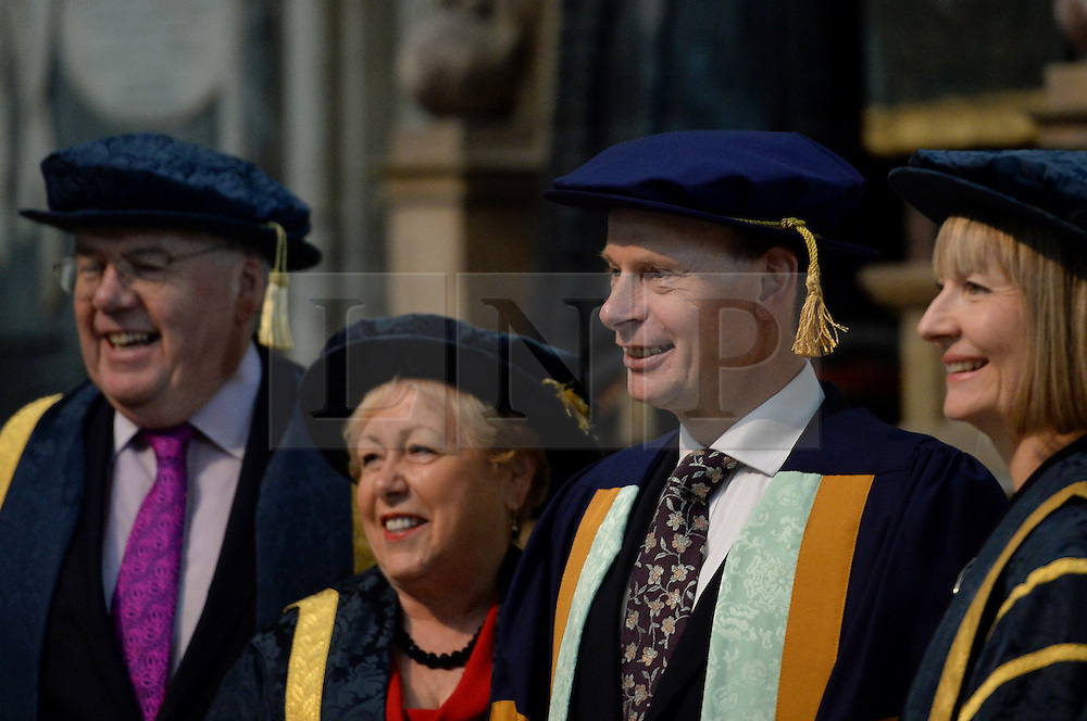 © Licensed to London News Pictures. 18/11/2015. York, UK.  BBC presenter Andrew Marr (second from the right) before receiving an honorary degree in recognition of his career in journalism and broadcasting from the University of York St John during a ceremony at York Minster. Photo credit : Anna Gowthorpe/LNP
