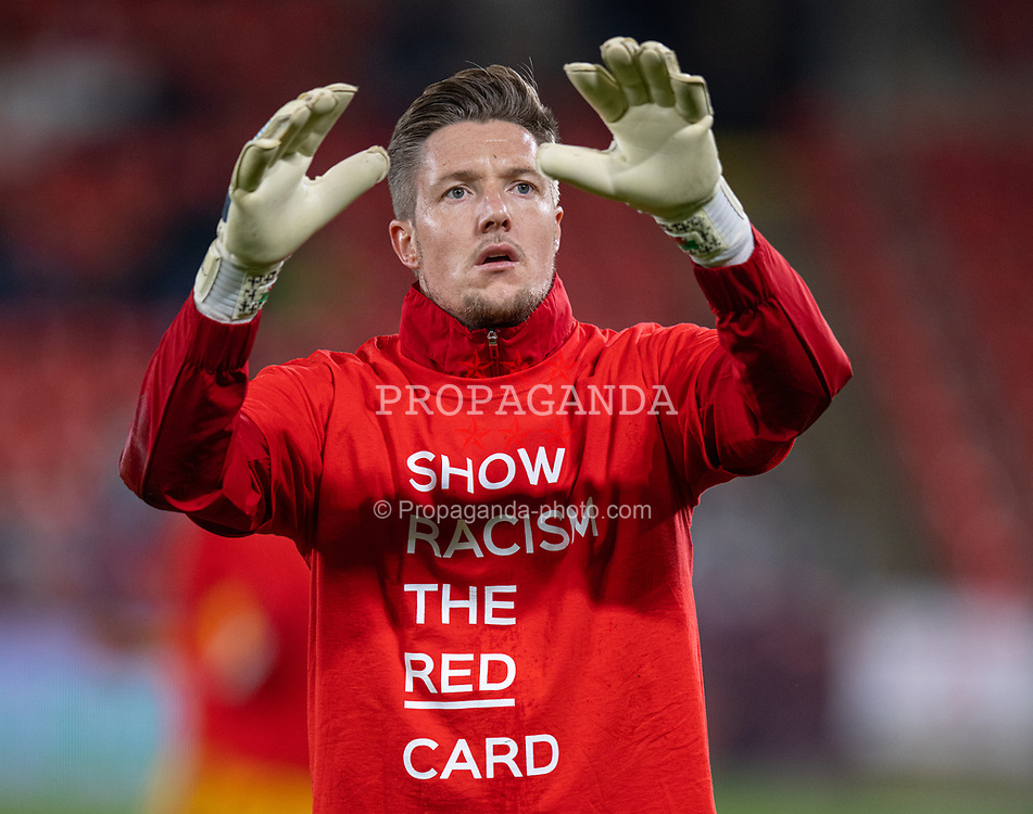 """PRAGUE, CZECH REPUBLIC - Friday, October 8, 2021: Wales' goalkeeper Wayne Hennessey, wearing a """"Show Racism The Red Card"""" t-shirt, during the pre-match warm-up before the FIFA World Cup Qatar 2022 Qualifying Group E match between Czech Republic and Wales at the Sinobo Stadium. The game ended in a 2-2 draw. (Pic by David Rawcliffe/Propaganda)"""