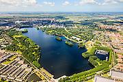 Nederland, Noord-Holland, Amsterdam, 14-06-2012; Overzicht van de Sloterplas met de wijken Slotervaart (onder), Osdorp en Geuzenveld (rechts). Haarlemmermeer aan de horizon..Overview of Slotervaart (bottom) and Osdorp and Geuzeveld (r), residential areas of Amsterdam-West. Recreational lake Sloterplas in the middle of the picture. ..luchtfoto (toeslag), aerial photo (additional fee required).foto/photo Siebe Swart