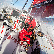 Leg 7 from Auckland to Itajai, day 04 on board MAPFRE, Antonio Cuervas-Mons and Tamara Echegoyen tiding ropes after a pilling. 21 March, 2018.