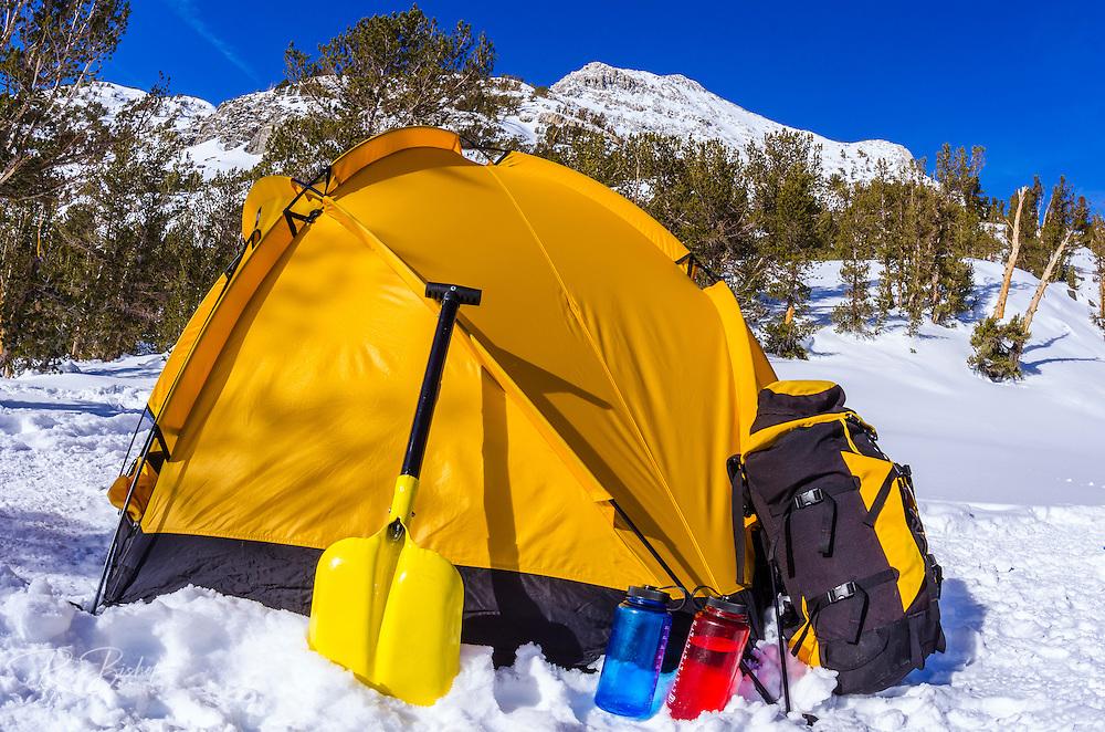 Yellow dome tent and gear, John Muir Wilderness, Sierra Nevada Mountains, California  USA