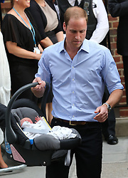 Duke of Cambridge with his new baby boy<br /> Lindo Wing of St Mary's Hospital, London, United Kingdom<br /> Tuesday, 23rd July 2013<br /> Picture by Stephen Lock / i-Images