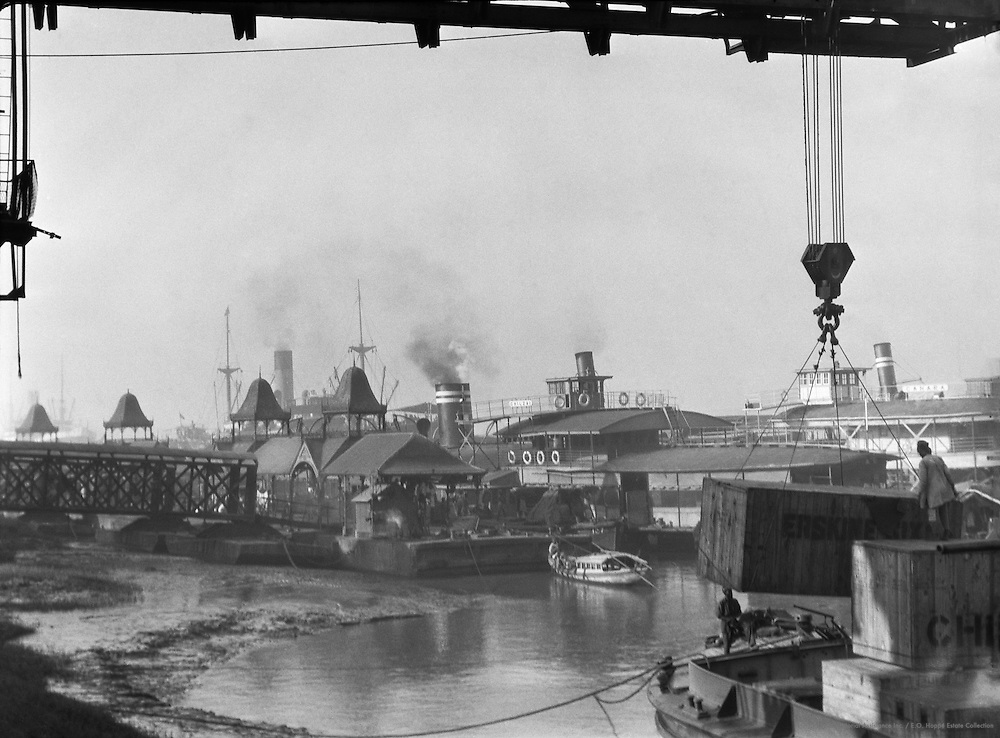 View of Shipping below Howrah Bridge, Calcutta, India, 1929