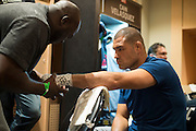 LAS VEGAS, NV - JULY 9:  Cain Velasquez has his hands wrapped in the locker room before UFC 200 at T-Mobile Arena on July 9, 2016 in Las Vegas, Nevada. (Photo by Cooper Neill/Zuffa LLC/Zuffa LLC via Getty Images) *** Local Caption *** Cain Velasquez