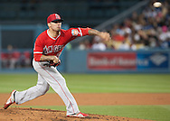 Angels starting pitcher Hector Santiago throws against the Dodgers during their Freeway Series game Friday night at Dodger Stadium.<br /> <br /> <br /> ///ADDITIONAL INFO:   <br /> <br /> freeway.0402.kjs  ---  Photo by KEVIN SULLIVAN / Orange County Register  --  4/1/16<br /> <br /> The Los Angeles Angels take on the Los Angeles Dodgers at Dodger Stadium during the Freeway Series Friday.<br /> <br /> <br />  4/1/16