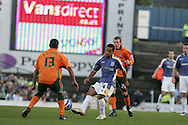 Coca Cola championship,Cardiff city v Plymouth Argyle at Ninian Park in Cardiff on Sunday 28th December 2008. pic by Andrew Orchard, Andrew Orchard sports photography. Wayne Routledge of Cardiff City looks to go past Matt Doumbe.