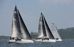 Sailing - SCOTLAND  - 27th May 2018<br /> <br /> 3rd days racing the Scottish Series 2018, organised by the  Clyde Cruising Club, with racing on Loch Fyne from 25th-28th May 2018<br /> <br /> RC35, fleet upwind, IRL3307, Jacob VII, John Stamp, Port Edgar, Corby 33<br /> <br /> Credit : Marc Turner<br /> <br /> Event is supported by Helly Hansen, Luddon, Silvers Marine, Tunnocks, Hempel and Argyll & Bute Council along with Bowmore, The Botanist and The Botanist