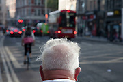 Man with wispy white thinning hair in London, United Kingdom.