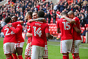 Ricky Holmes of Charlton Athletic celebrates after scoring the first goal of the match during the EFL Sky Bet League 1 match between Charlton Athletic and AFC Wimbledon at The Valley, London, England on 28 October 2017. Photo by Toyin Oshodi.