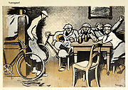From the Book Das Narrenrad : Album fröhlicher Radfahrbilder [The fool's wheel: album of happy cycling pictures] by Feininger, Lyonel, 1871-1956, illustrator; Heilemann, Ernst, 1870- illustrator; Hansen, Knut, illustrator; Fürst, Edmund, 1874-1955, illustrator; Edel, Edmund, illustrator; Schnebel, Carl, illustrator; Verlag Otto Elsner, printer. Published in Germany in 1898