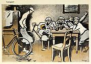 From the Book Das Narrenrad : Album fröhlicher Radfahrbilder [The fool's wheel: album of happy cycling pictures] by Feininger, Lyonel, 1871-1956, illustrator; Heilemann, Ernst, 1870- illustrator; Hansen, Knut, illustrator; Fürst, Edmund, 1874-1955, illustrator; Edel, Edmund, illustrator; Schnebel, Carl, illustrator; Verlag Otto Elsner, printer. Published in Germany in 1898
