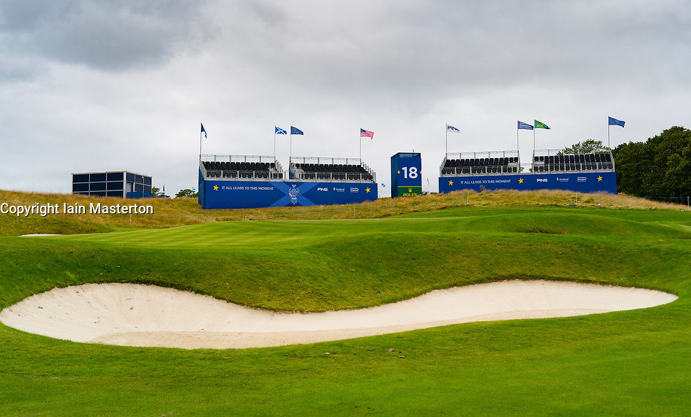 Auchterarder, Scotland, UK. 8 September 2019.  Final preparations underway at the Centenary Course at Gleneagles for the 2019 Solheim Cup between women golfers from Europe and the USA. The event runs from 9-15 September. Pictured; Empty grandstand behind the 18th green. Iain Masterton/Alamy Live News