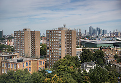 © Licensed to London News Pictures. 11/08/2017. London, UK. Tower blocks on the Ledbury Estate. Residents on the estate in south London have been told they will have to leave their properties over the next few weeks. A structural survey carried out after the Grenfell fire found cracks that could lead to a collapse of the building if a gas explosion occured in one of the flats. Photo credit: Peter Macdiarmid/LNP
