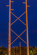 Power poles and transmission lines, night time, April, along the Ediz Hook Road, Clallam County, Port Angeles, Washington, USA
