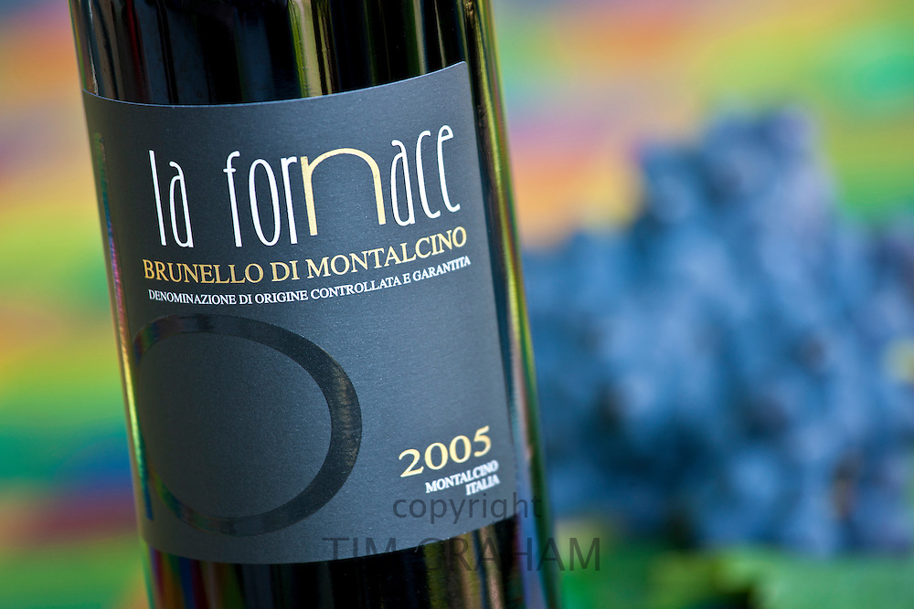 La Fornace Brunello di Montalcino 2005 bottle of red wine at wine estate of La Fornace in Val D'Orcia, Tuscany, Italy