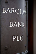 A sign for Barclays Bank, London.